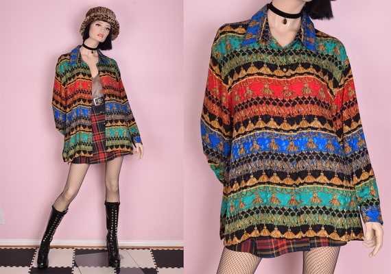 90s Y2K Tassle Print Silk Blouse/ 1X/ Long Sleeve/