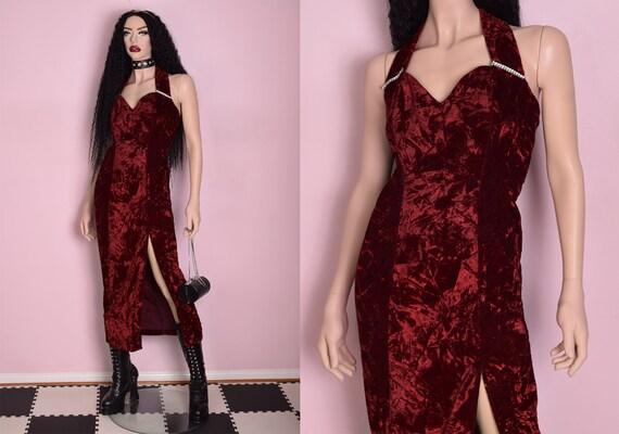 90s Crushed Velvet Dress/ US 9/ 1990s