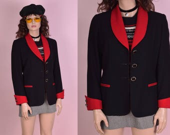80s Black and Red Wool Blazer/ US 8/ 1980s/ Jacket