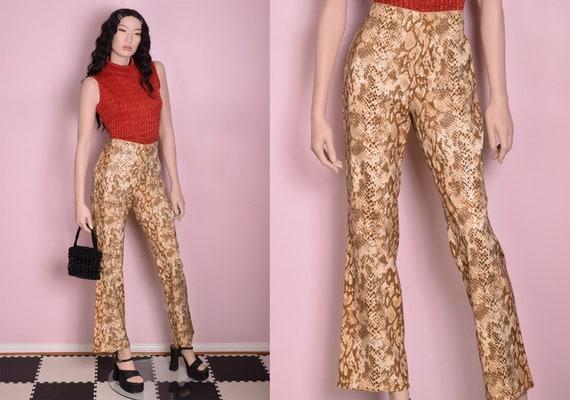 90s Faux Sequin Reptile Print Pants/ US 8/ 1990s - image 1