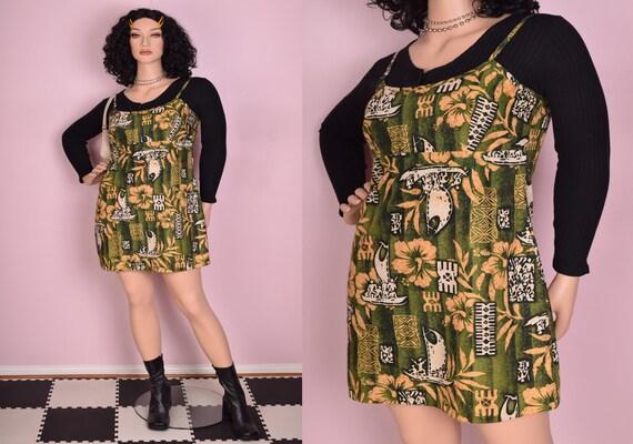 90s Hawaiian Print Mini Dress/ XL-XXL/ 1990s/ Tank