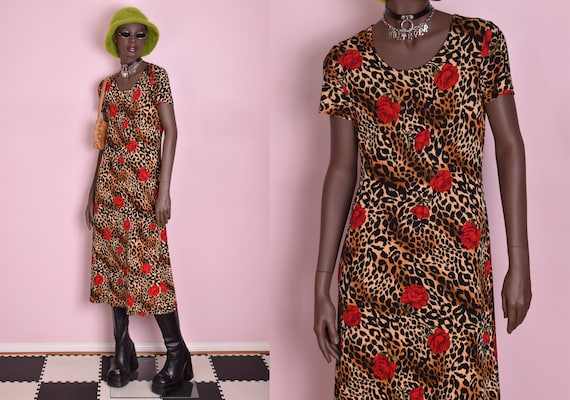90s Rose and Animal Print Dress/ Medium/ 1990s