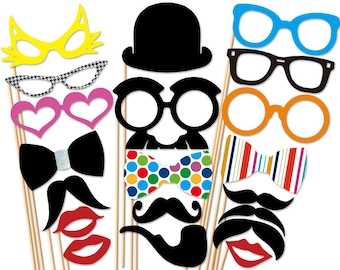 Photo Booth Party - 20 Piece Photobooth Props Set - Wedding PhotoBooth Props - Birthday