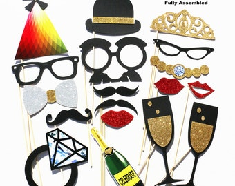 Wedding Party Photo Booth Props - 18 Piece Wedding Party Favor Set - Bridal Shower Photobooth Wedding Photo Props