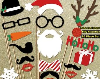 Christmas Decor - Holiday Decor - Christmas Photo Props 20 Piece Set - Christmas Tree Decoration - Holiday Photo Booth Props