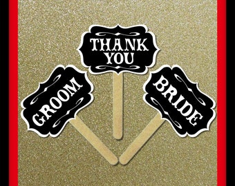 Groom and Bride Thank You Wedding Signs - 3 Piece Set - Wedding Party Photo Booth Props