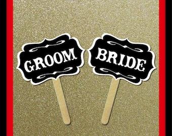 Bride Groom Signs - 2 Piece Set - Wedding Party Photo Booth Props