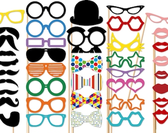 Photo Booth Props - Best Wedding 40 Piece  Photo Props set  - Photobooth Party Props