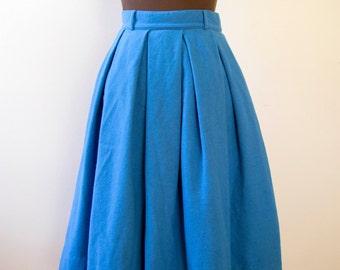 50s 60s Koret of California Cobalt Blue Wool Skirt Size Small