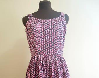 50s Berry Print Dress Size Medium