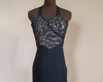 40s Black Lace Rayon Halter Dress Size Extra Small Wounded Bird