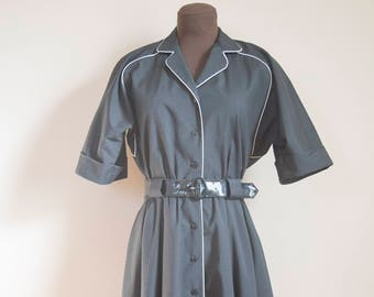 70s 80s Willi of California Button Down Diner Dress Size Medium or Large