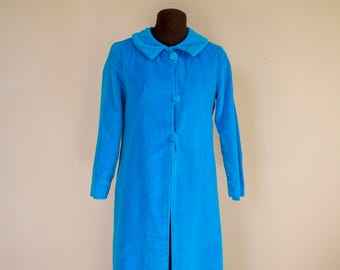 60s Electric Blue Velvet Robe Dressing Gown Loungewear Size Small
