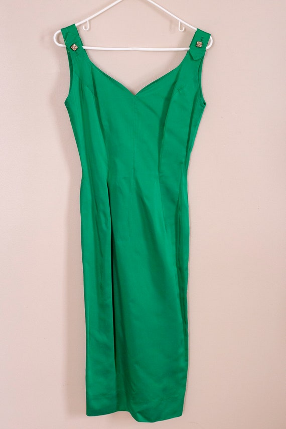 50s Junior Accent Green Satin Wiggle Dress With R… - image 6