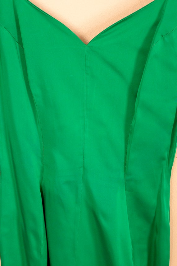 50s Junior Accent Green Satin Wiggle Dress With R… - image 9