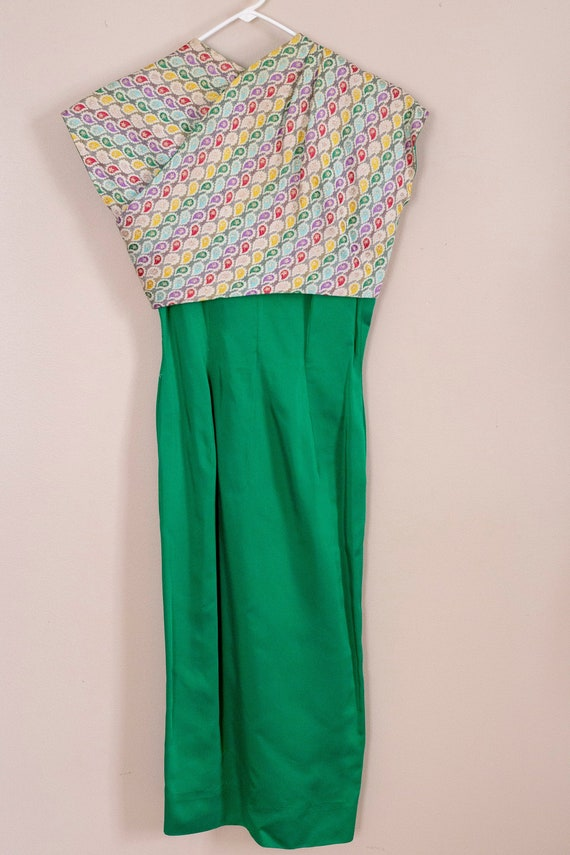 50s Junior Accent Green Satin Wiggle Dress With R… - image 1