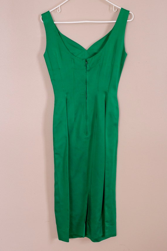 50s Junior Accent Green Satin Wiggle Dress With R… - image 7