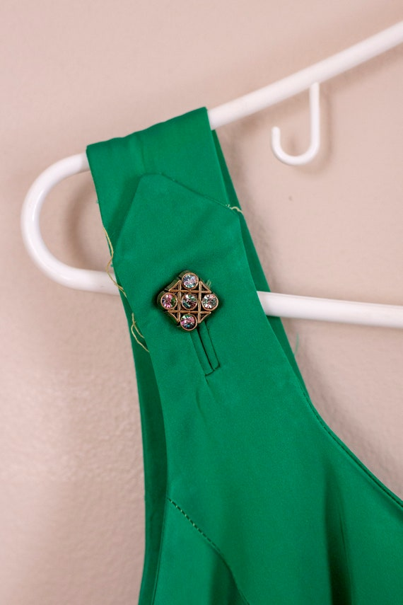 50s Junior Accent Green Satin Wiggle Dress With R… - image 8