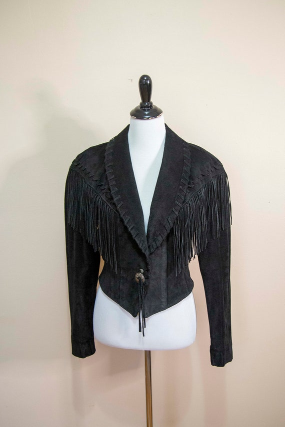 80s 90s Frontier Collection Black Suede Fringe Wes