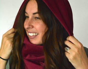 Fuchsia Hood Scarf. Hooded Scarf. Fleece Scarf. Infinity Scarf. Festival Hood. Festival Scarf. Winter Scarf. Large Scarf. Comfy Scarf.
