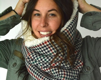Houndstooth and Sherpa Cowl Hood. Hood Scarf. Infinity Scarf. Winter Hood. Neck Warmer. Chunky Scarf.
