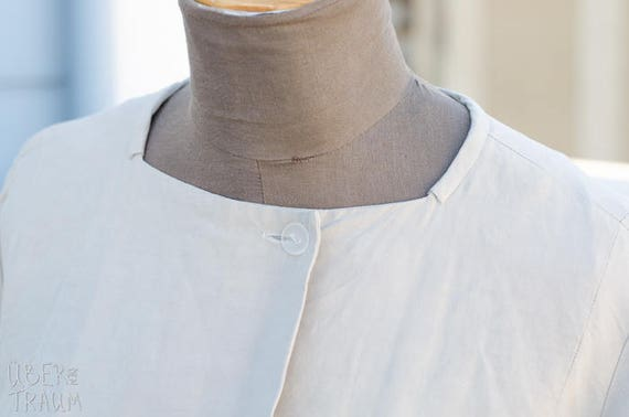 90's Beige Coat - Linen Silk Blend - Ally Capellin