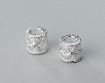 Nunn Design Beads Antique Silver Finish Sterling Silver Plated Tube Beads 2 beads ND-04 12mm
