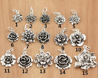 14b573afc 925 Sterling Silver flower charms, antique silver flower charms sterling  silver flower charm
