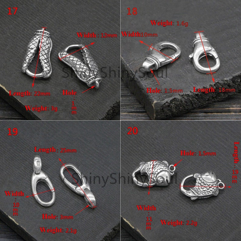 Bracelet Clasp Big Clasp Necklace Clasp Lobster Clasps Dragon Fish Snake Skull Flower Sterling Silver Clasp Animal Clasp Large Clasp
