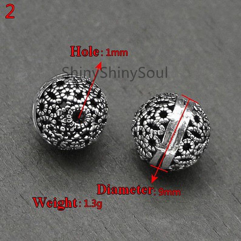 Bead Bracelet 8mm Bead Necklace 12mm Sphere Bead Silver beads Hollow Bead Sterling Silver Bead 10mm Bead Choker Ball Bead 14mm