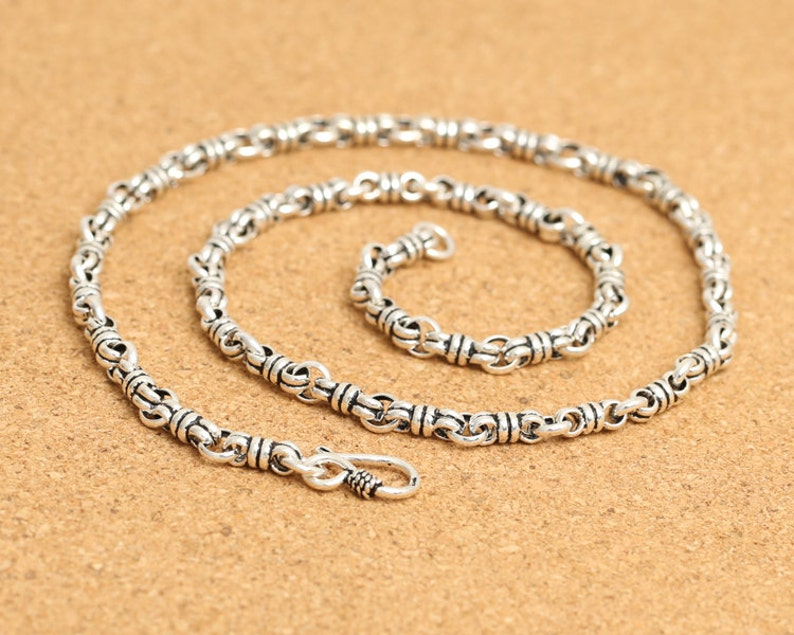 4mm silver chain antique silver necklace 4mm silver necklace 925 sterling silver mens necklace chunky silver necklace