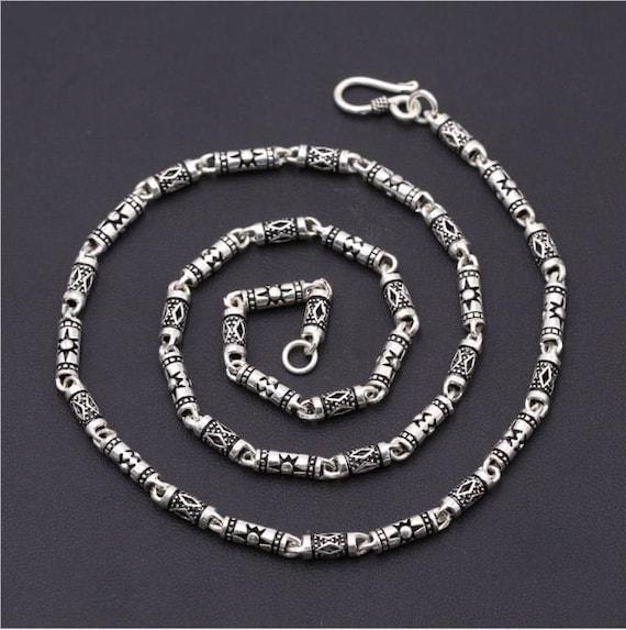 925 Silver Chain >> 925 Sterling Silver Chain Sun Logo Silver Necklace Mens Chain Retro Silver Necklace Vintage Necklace