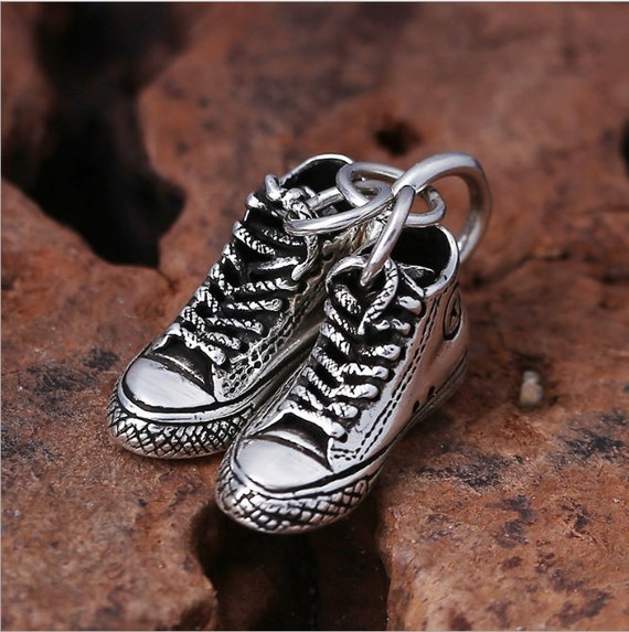 925 Sterling Silver Detailed Plimsolls Sneakers Pendant For Keychain or Necklace