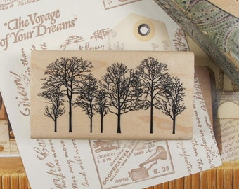 Winter Forest Rubber Stamp
