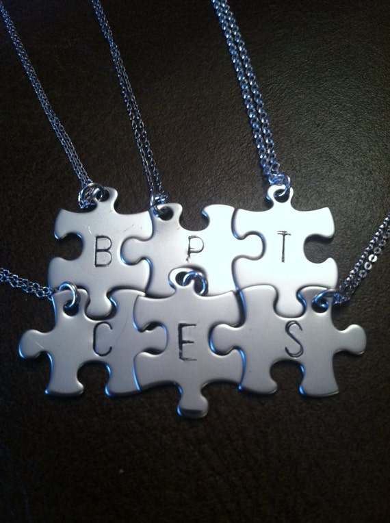 Items similar to Personalized puzzle piece necklace, set ...