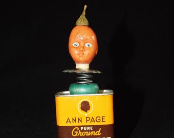 OOAK Mixed Media Assemblage Art Doll - Orange Turmeric