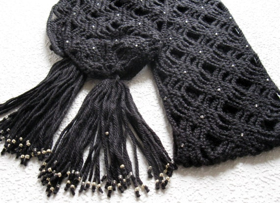 Black Beaded Scarf Light Weight Open Weave Crochet Scarf Etsy