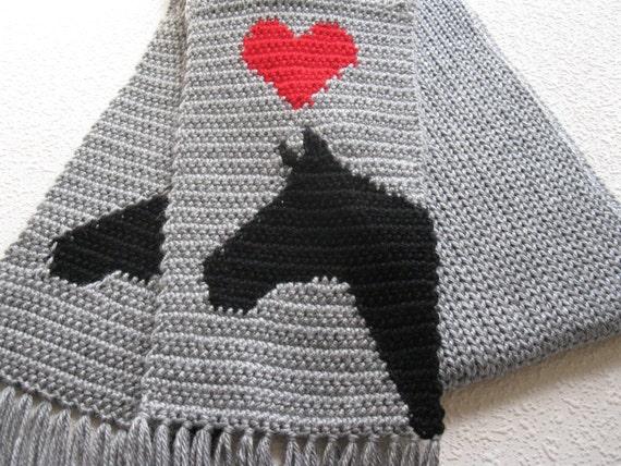 Graue Pferd Schal. Grau stricken und Häkeln Schal schwarze | Etsy
