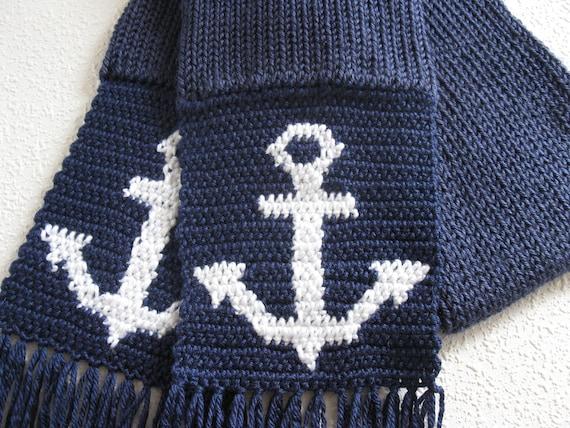 Anker Schal Für Männer Navy Blau Gestrickte Schal Mit Häkeln Etsy