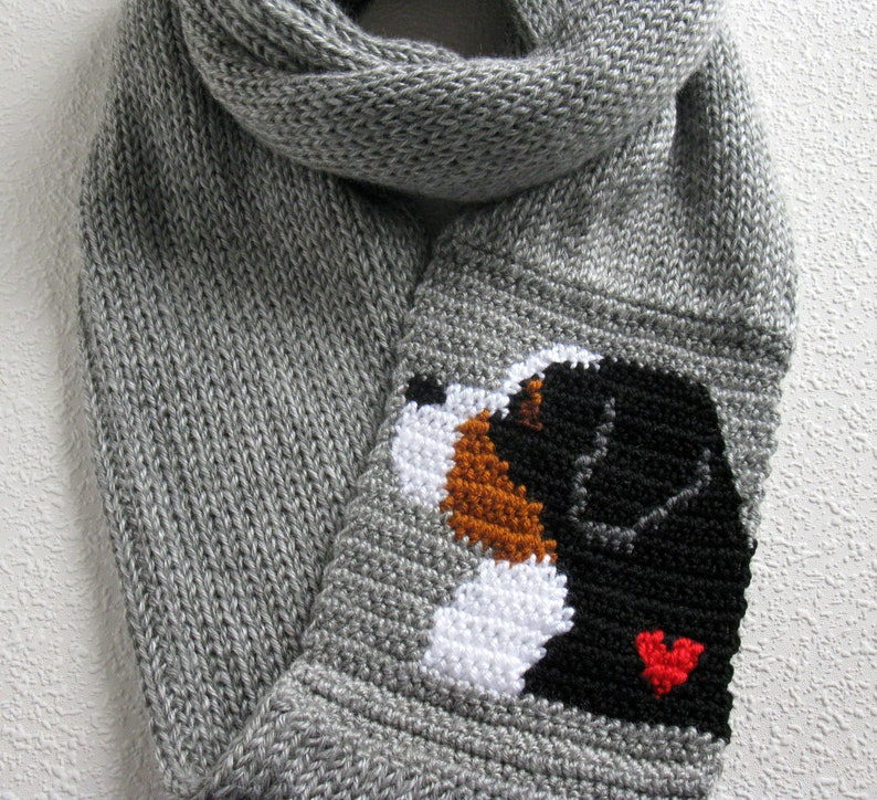Bernese Mountain Dog Scarf Gray Crochet And Knit Infinity Etsy