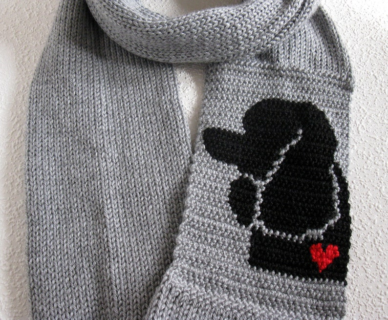 Poodle Infinity Scarf Grey Knit And Crochet Scarf With A Etsy