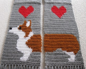 Corgi Scarf.  Gray knit and crochet scarf with Welsh corgi dogs.  Scarves with Pembroke welsh corgis and red hearts. Corgi gift