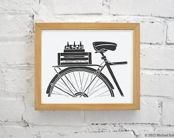 Beer and Bicycle Print, Black Wall Art Print