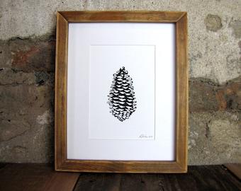 Nature Print with Black Pinecone Linocut Art
