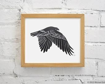 Hawk Linocut Print - Falconry Bird Red Tailed Hawk