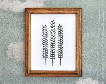 Forest Ferns Black - Linocut Botanical Print