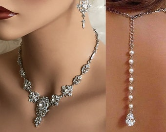 Bridal jewelry set, Wedding necklace, wedding jewelry set, bridal necklace, Bridal backdrop necklace, bridal statement, bridesmaid jewelry