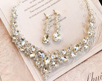 1c46e2322 V Shape Bridal Jewelry Set, Bridal Necklace Earrings, Prom Jewelry  Set,Pink, Champagne, Navy Blue, Peach Blush Crystal Backdrop Necklace Set
