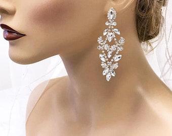 5bd6059ec Bridal Chandelier Earrings, Crystal Chandelier Earrings, Rose Gold, Silver  CZ Bridal Earrings, Victorian Drop Earrings, Prom Earrings