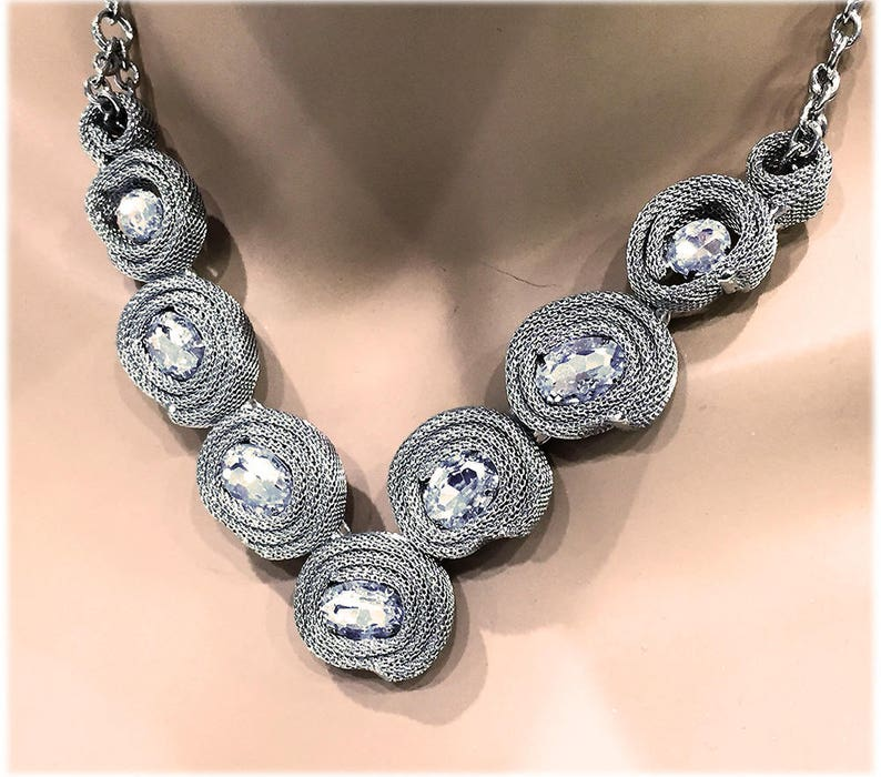 Silver Rose Crystal Bridal Necklace Bridesmaid Statement Necklace Maid of Honor Necklace
